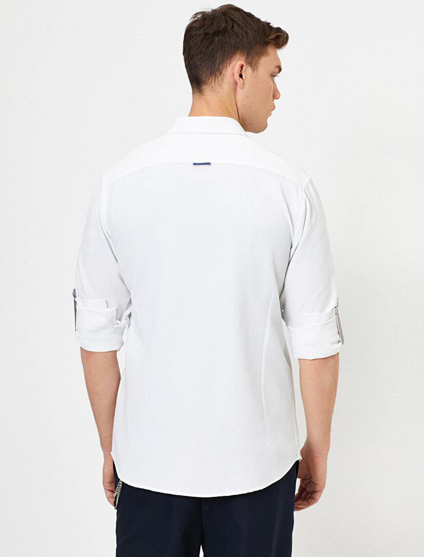 Apoletli Uzun Kollu  Slim Fit Casual Gömlek