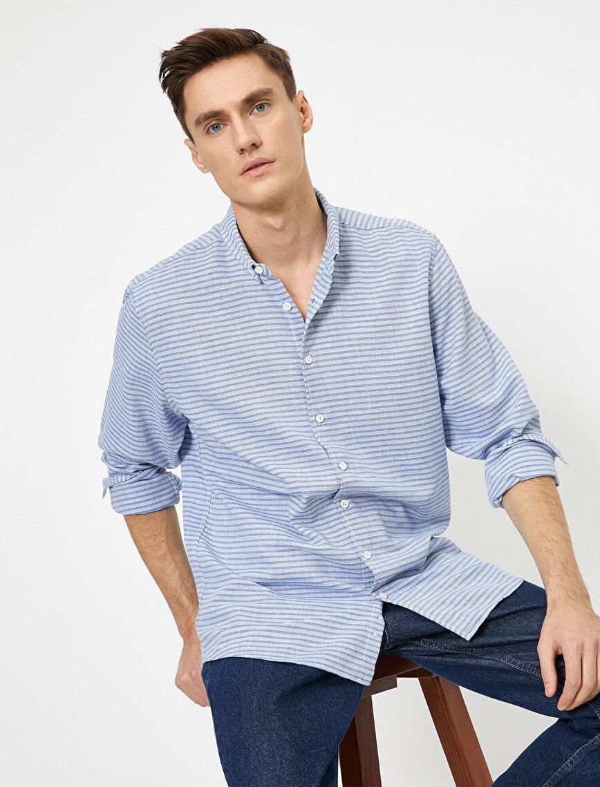 Düğmeli Yaka Yatay Çizgili %100 Pamuk Regular Fit Gömlek
