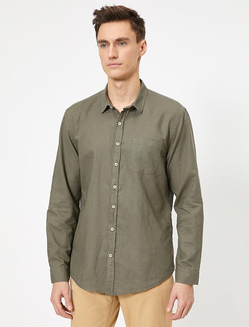 Uzun Kollu Tek Cepli  Regular Fit Gömlek