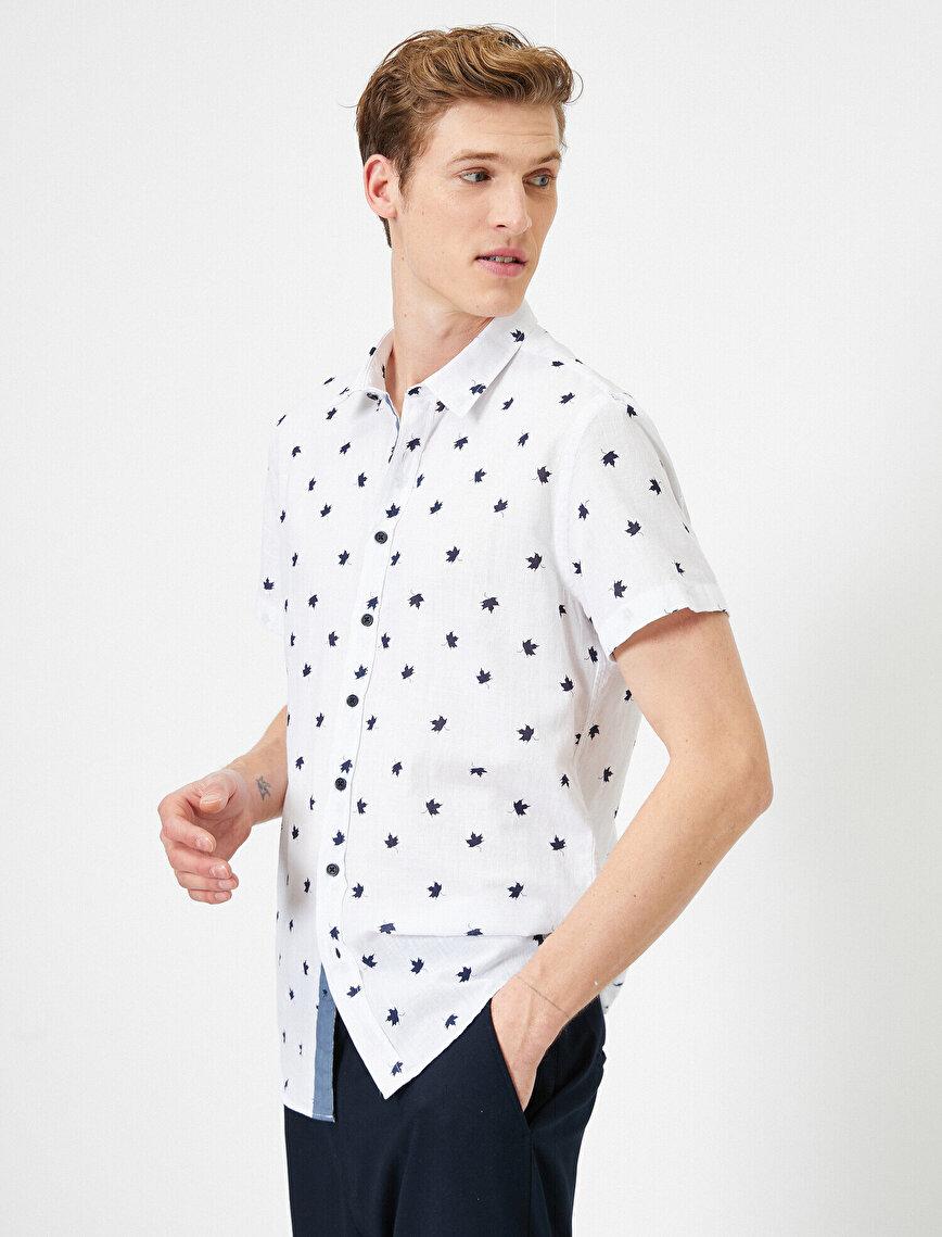 Minimal Yaprak Desenli %100 Pamuk Kısa Kollu Slim Fit Gömlek