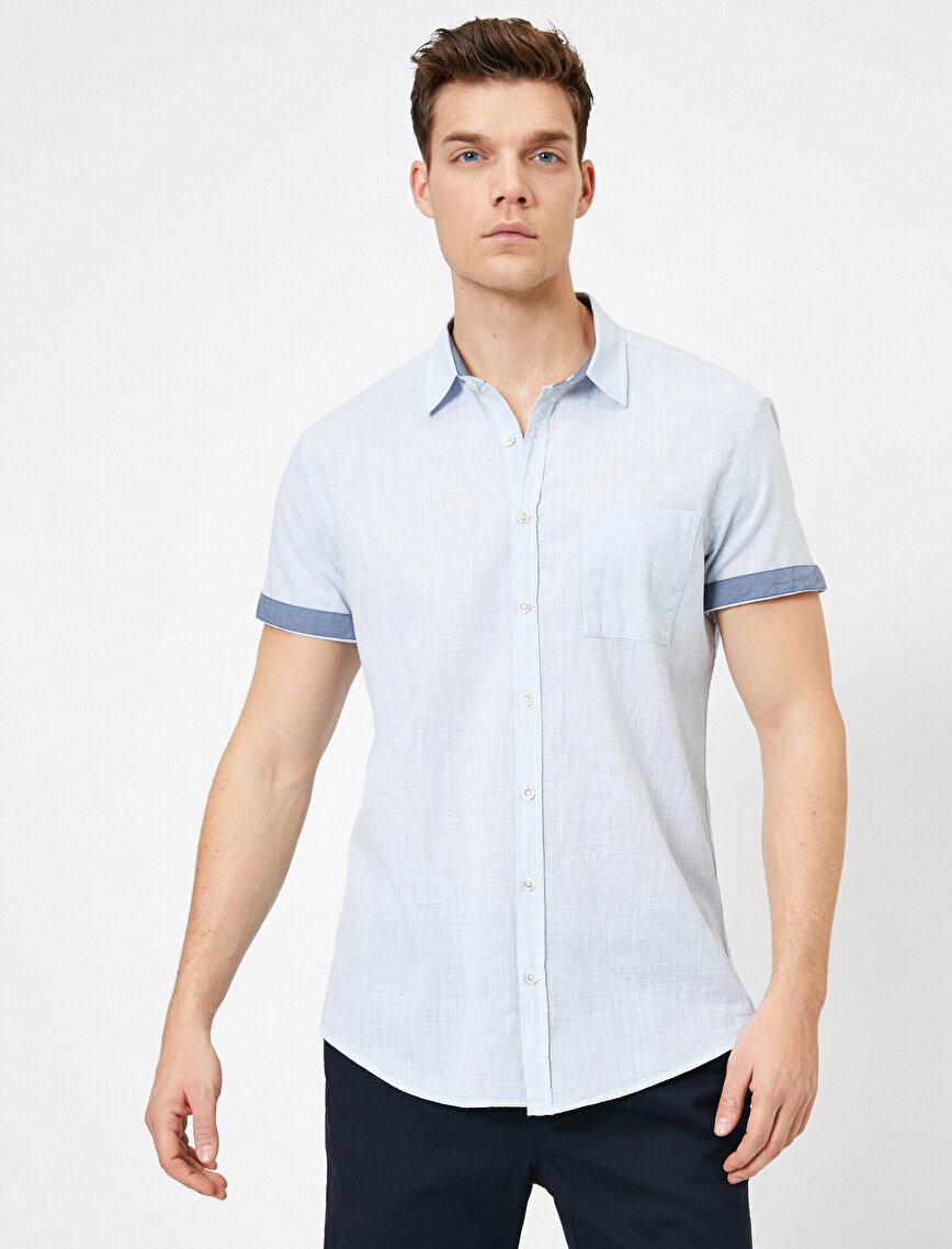 Tek Cepli %100 Pamuk Kısa Kollu Slim Fit Gömlek
