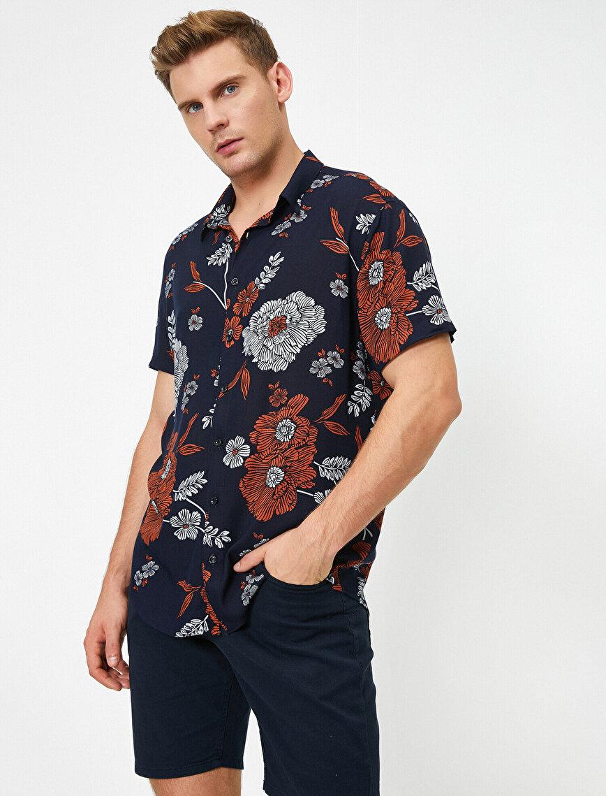 Çiçekli Kısa Kollu Gömlek