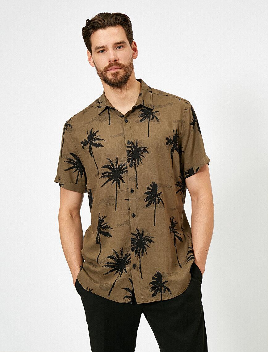 Palmiye Desenli Kısa Kollu Regular Fit Gömlek