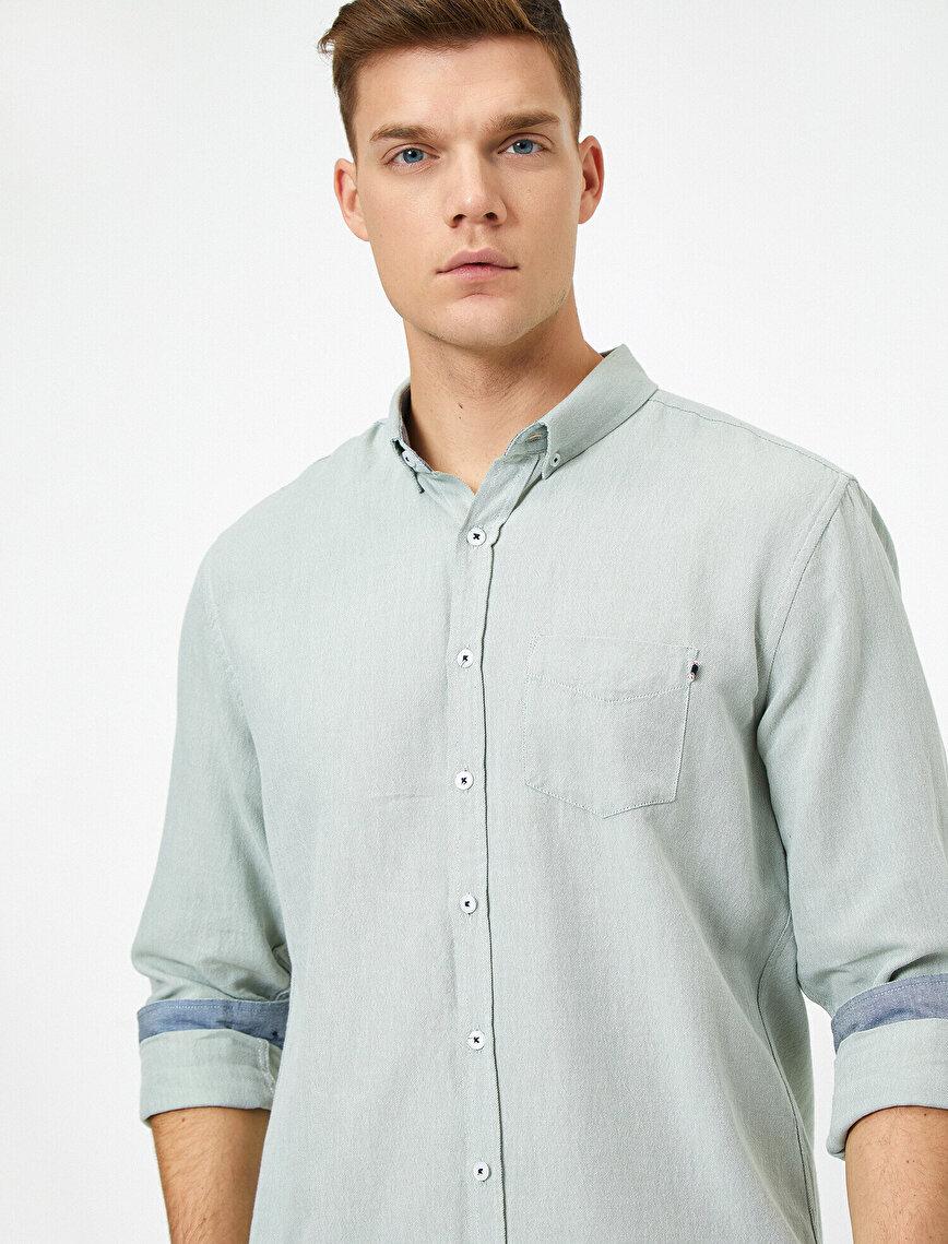 %100 Pamuk Cep Detaylı Uzun Kollu Casual Gömlek