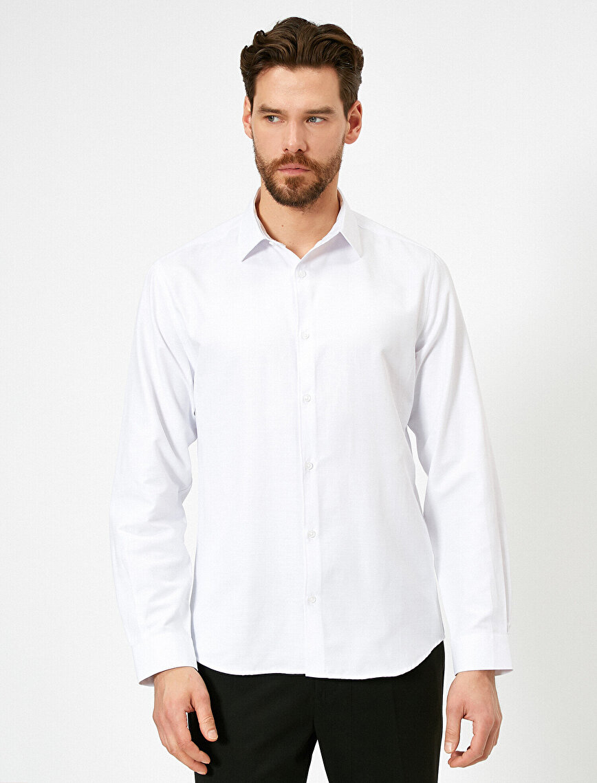 Düğmeli Yaka Uzun Kollu Slim Fit Smart Gömlek