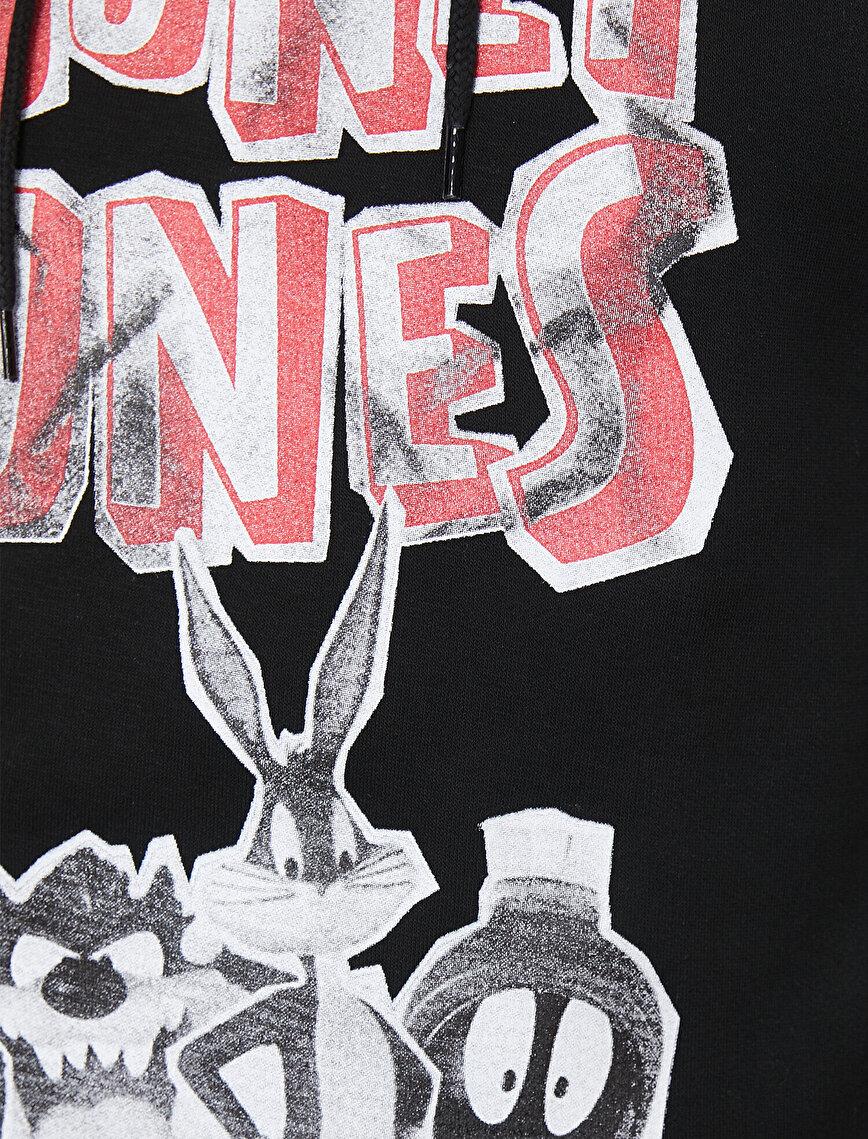 Looney Tunes Lisanslı Baskılı Kapüşonlu Sweatshirt