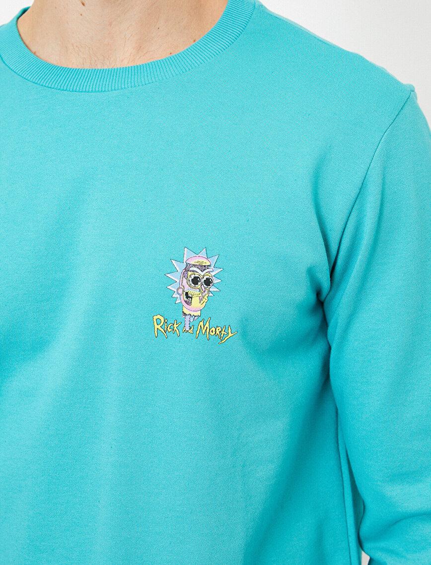 Rick And Morty Lisanslı Göğsü Baskılı Sweatshirt