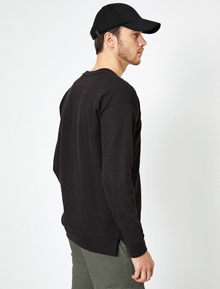 Bisiklet Yaka Cep Detaylı Basic Sweatshirt