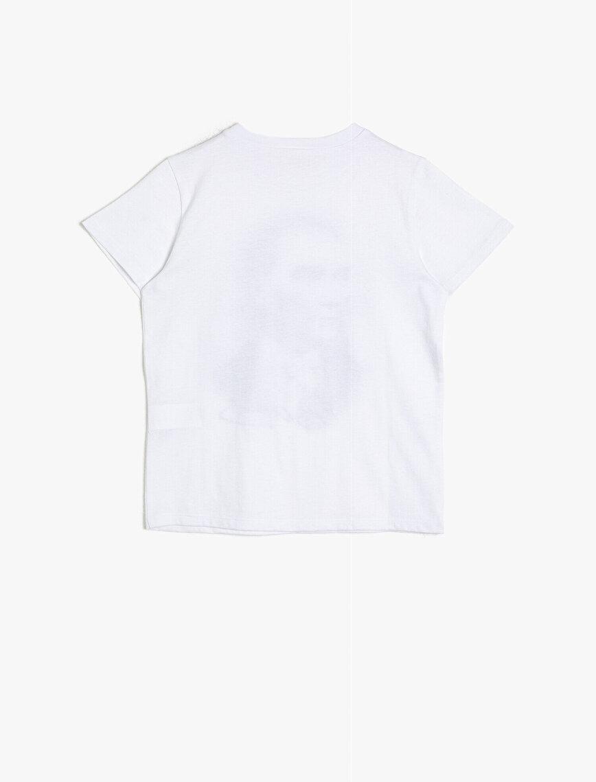 Atatürk Baskılı Pamuklu Kısa Kollu Bisiklet Yaka Tişört