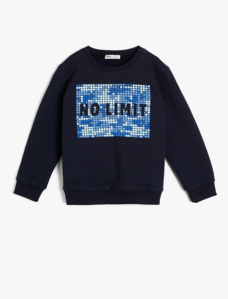 İçi Yumuşak Tüylü Kumaştan Ribanalı Slogan Baskılı Sweatshirt