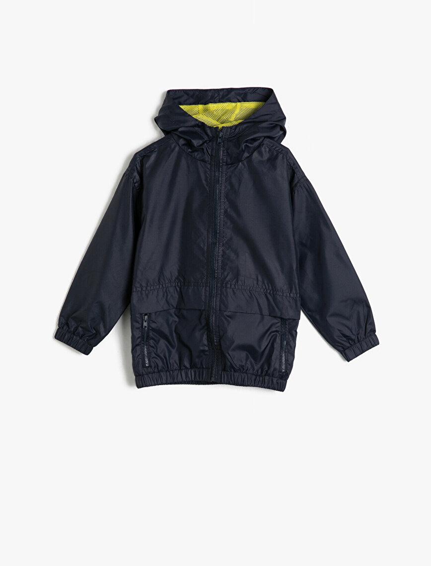Hooded Pocket Raincoat