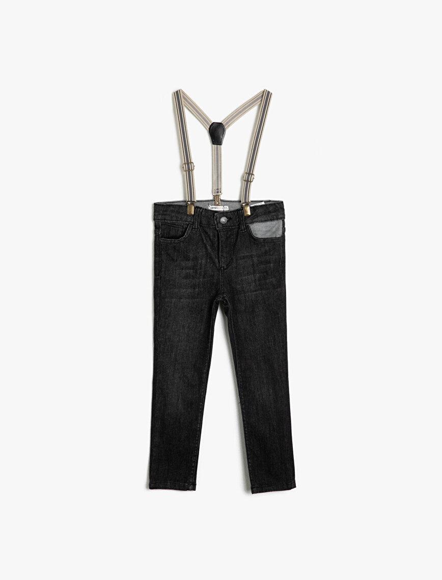 5 Cep Dar Paça Askılı Jean Pantalon