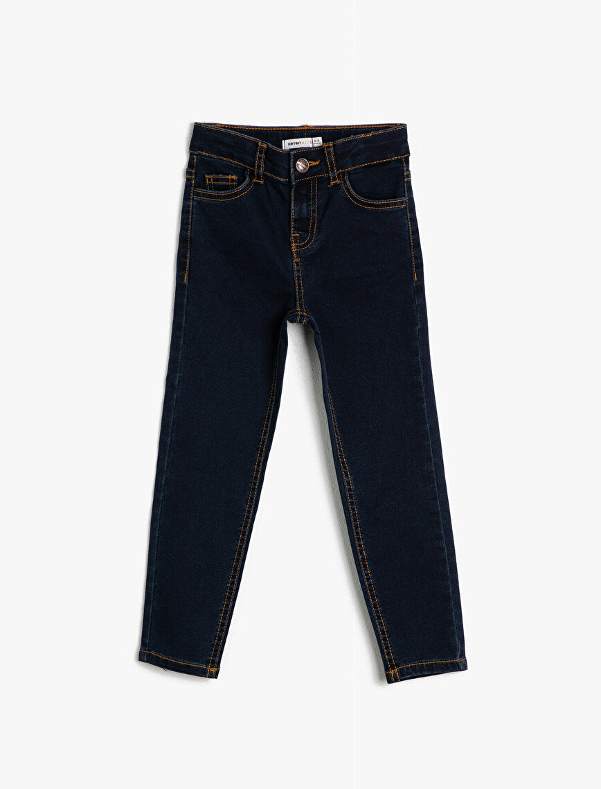 5 Cepli Basic Slim Fit Dar Paça Jean Pantalon