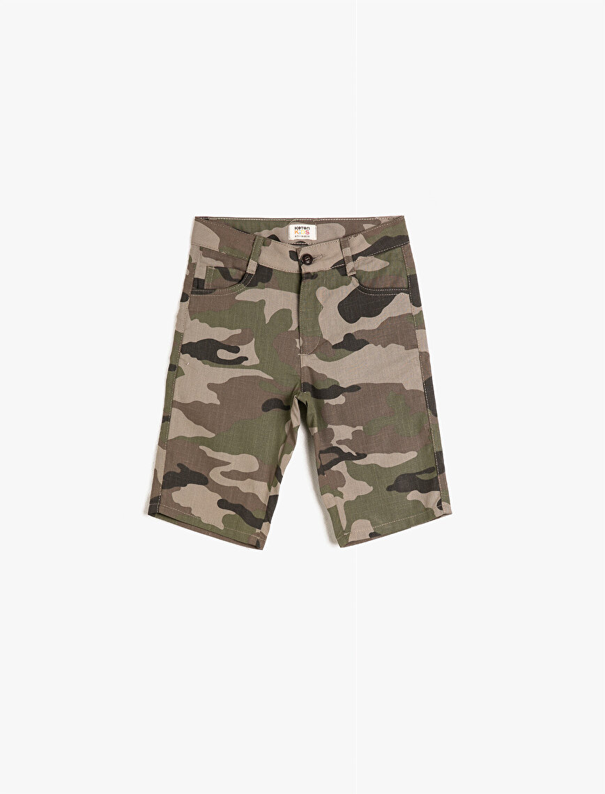 Cotton Camouflage Patterned Shorts