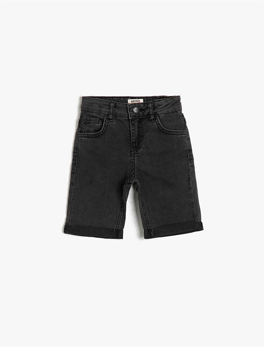 Basic Normal Bel 5 Cep Basic Jean Şort