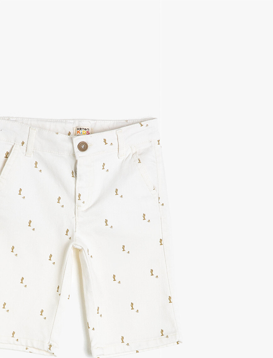 Cactus Patterned Woven Shorts With Pockets
