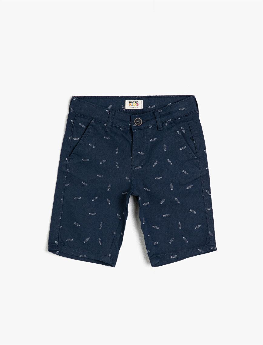 Cotton Printed Pocketed Shorts