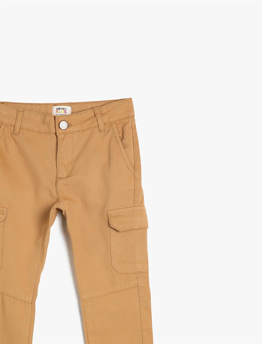 Crop Paça Yan Cepli Normal Bel Pantolon