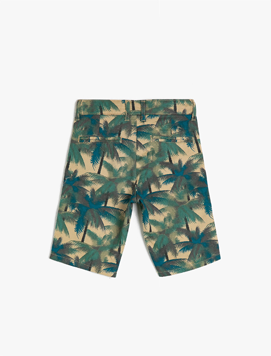 Palm Tree Patterned %100 Cotton Woven Shorts