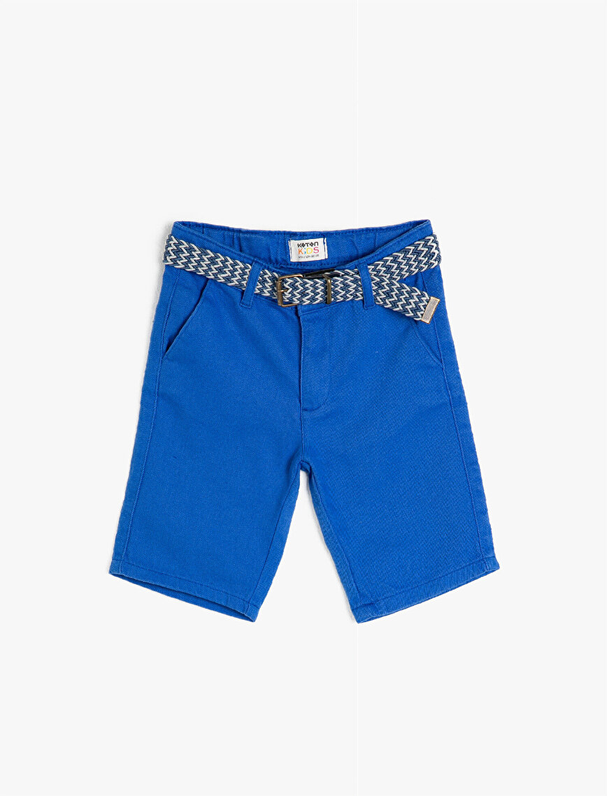 %100 Cotton Woven Shorts With Belt