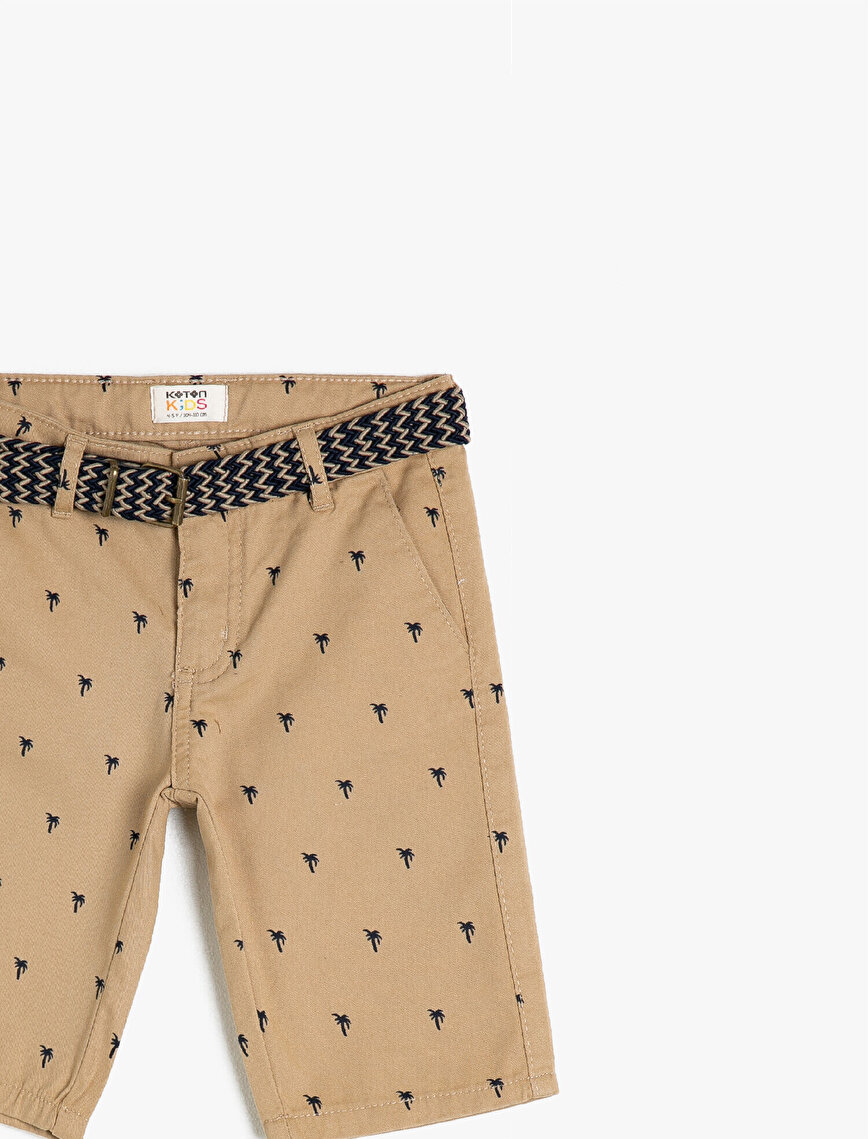 Palm Tree Patterned %100 Cotton Woven Shorts With Belt