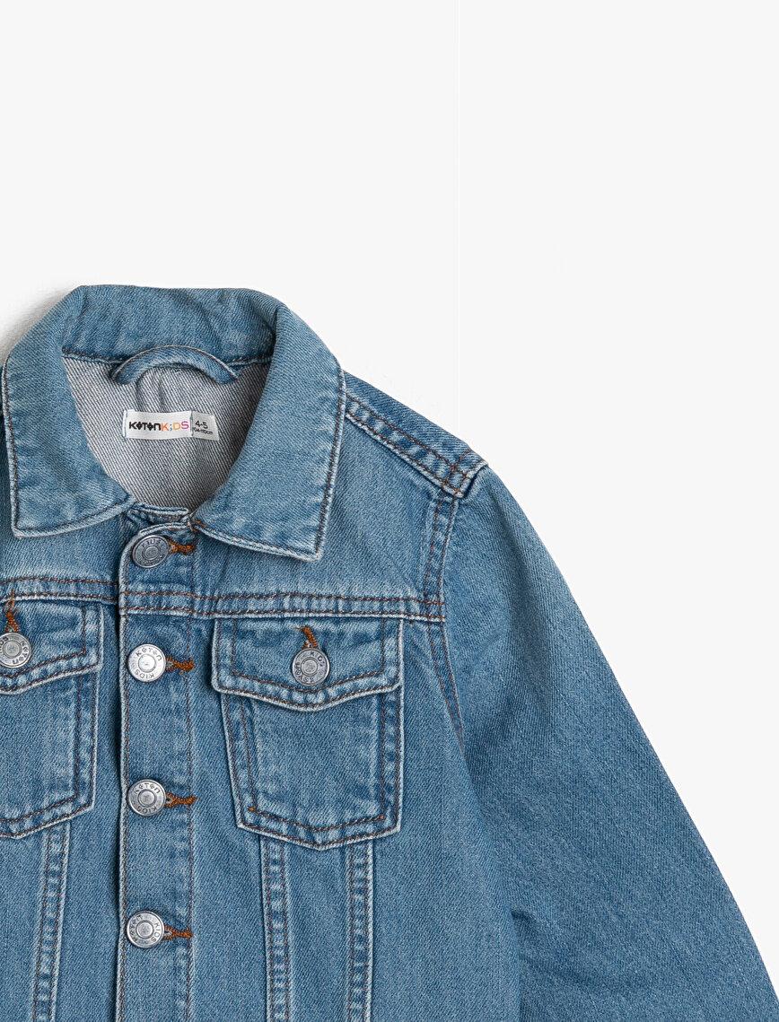 Arkası Baskılı Cepli Düğmeli Jean Ceket