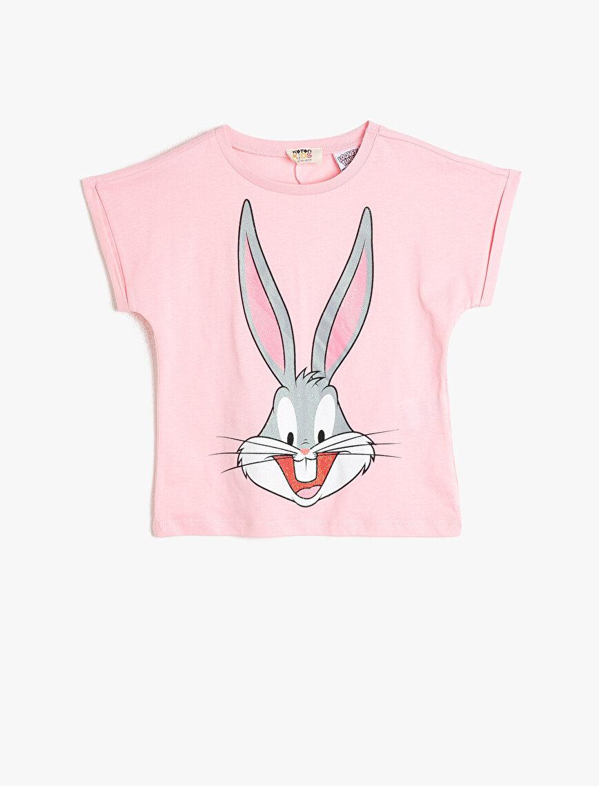 Bugs Bunny Lisanslı Simli Baskılı Bisiklet Yaka Kısa Kollu Pamuklu Tişört