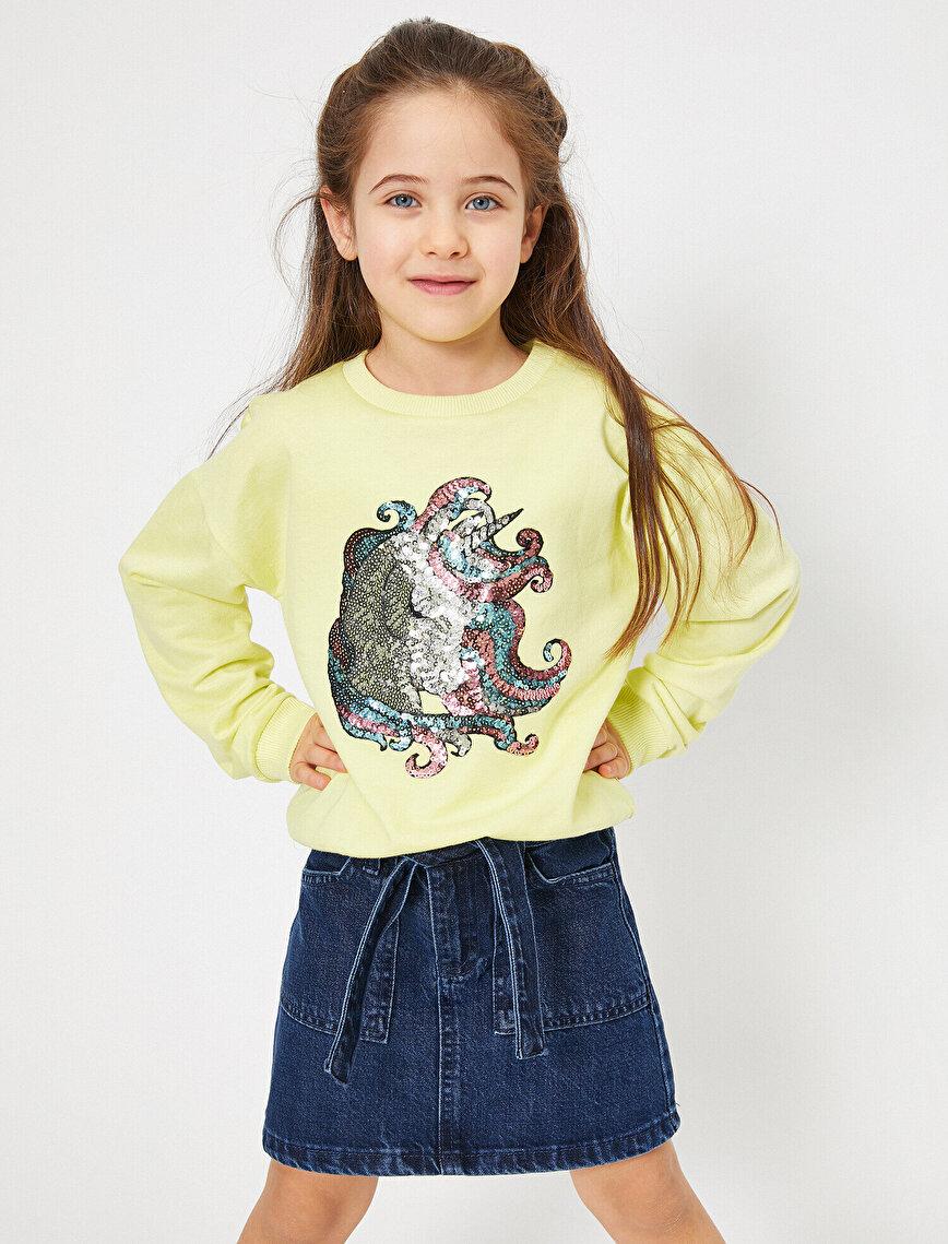 İçi Tüylü Yumuşak Sweatshirt Kumaşından Unicorn Pullu Sweatshirt