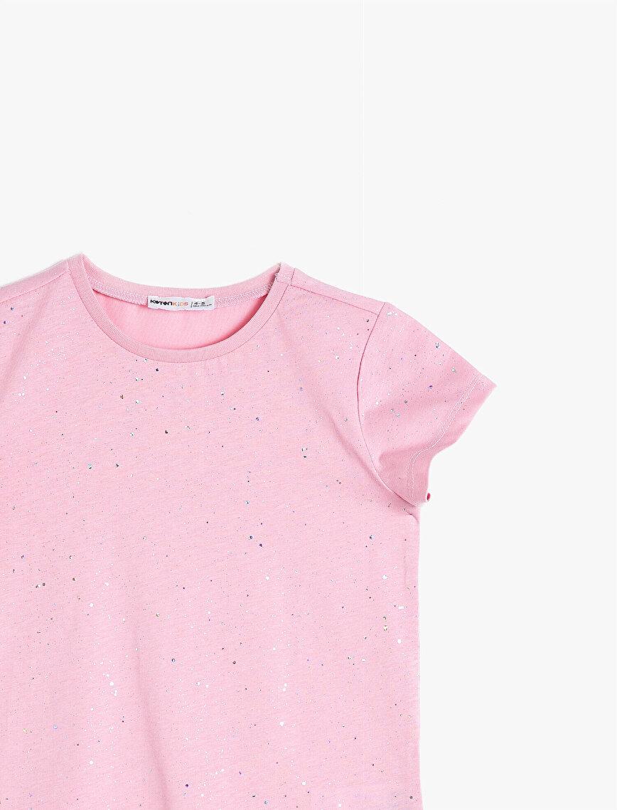 Simli Düz Renk Pamuklu Yumuşak Kumaştan Bisiklet Yaka Kısa Kollu Tişört
