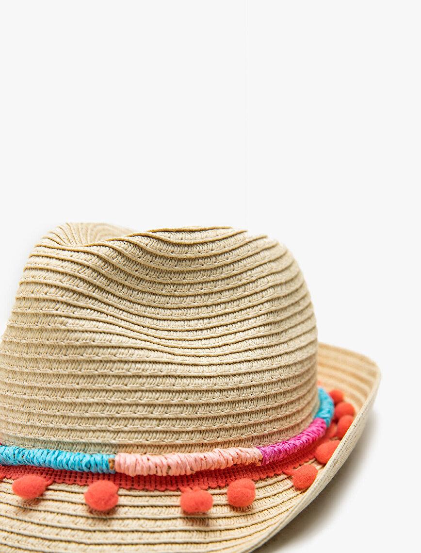 Ponponlu Fötr Hasır Şapka