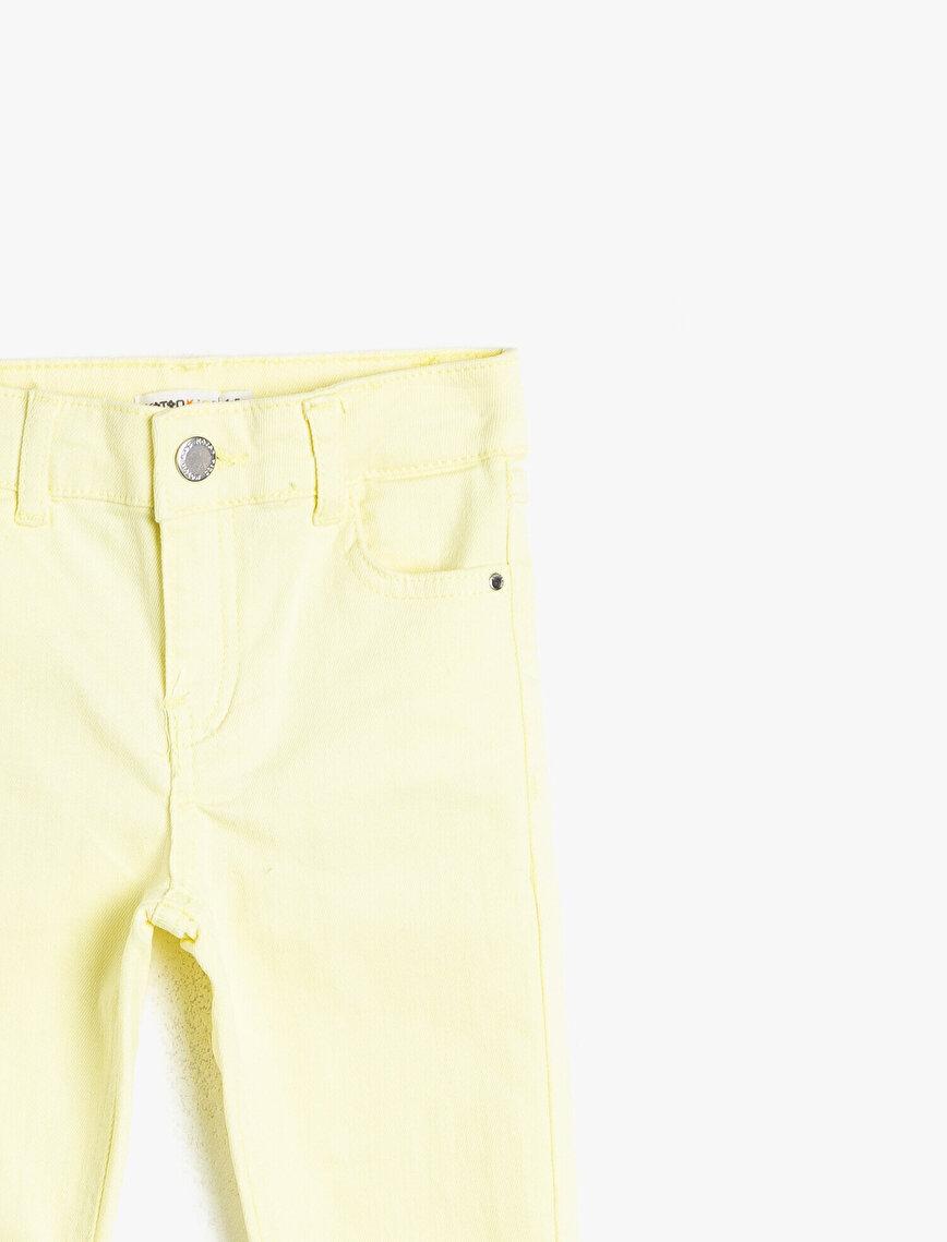 Esnek Yumuşak Cepli Fermuarlı Beli Ayar Lastikli Dar Kesim Uzun Jean Pantolon
