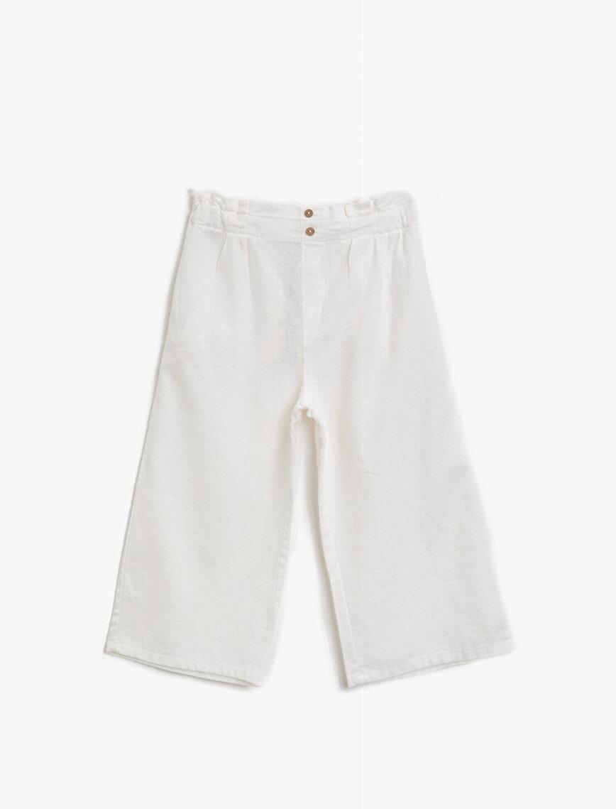 Linen Mix Wide Leg Button Detailed Trousers