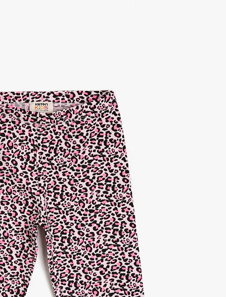 Leopard Patterned Cotton Short Leggings