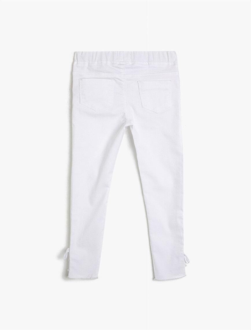 Esnek Pantolon Kumaşından Beli Lastikli Paçası Normal Bel Uzun Pantolon
