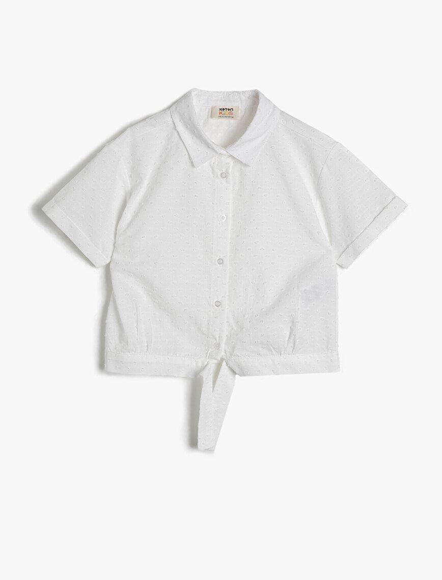Dokulu Poplin Kumaştan Belden Bağlamalı Kısa Kollu Gömlek