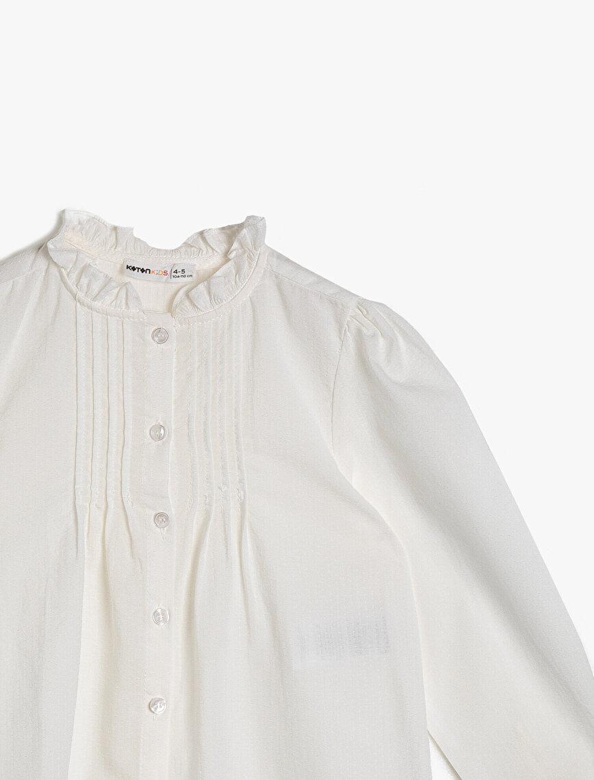 Dokulu Gömlek Kumaşından Önü Nervürlü Fırfırlı Uzun Kollu Gömlek