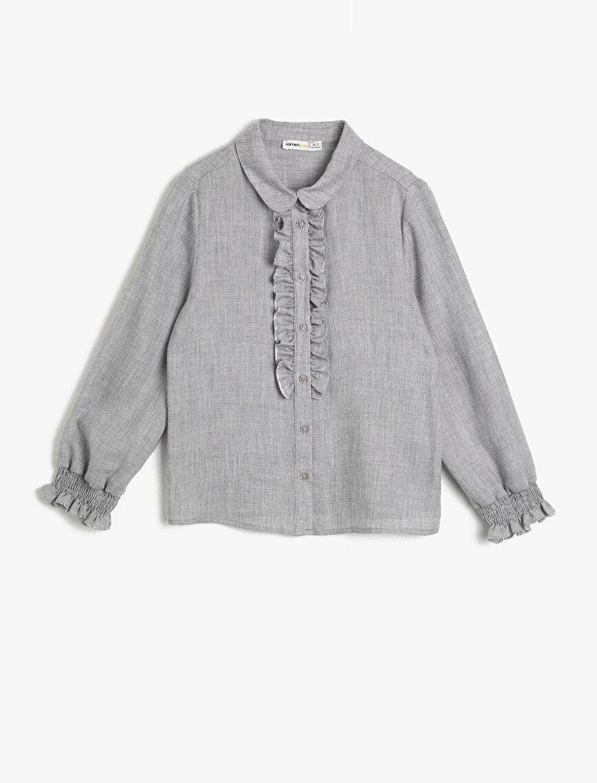 Yumuşak ve Tüylü Gömlek Kumaşından Simli Dikiş Detaylı Fırfırlı Gömlek
