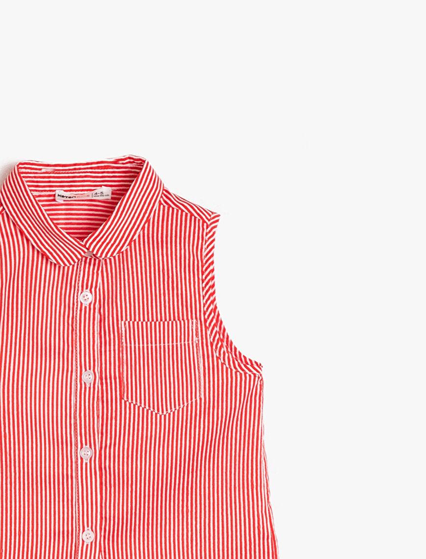 Çizgili Dokulu Gömlek Kumaşından Belden Bağlamalı Kolsuz Gömlek