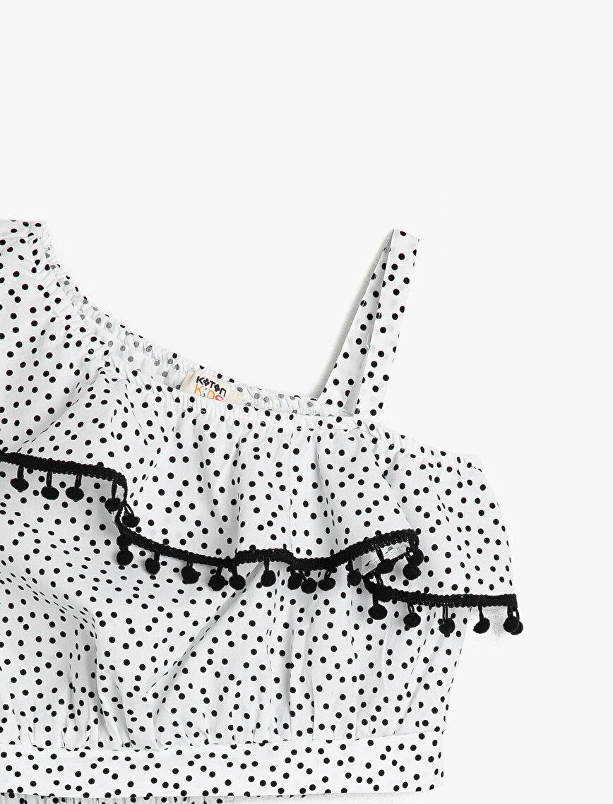 Puantiyeli Poplin Kumaşından Yakası Fırfırlı Tek Omuz Detaylı Bluz
