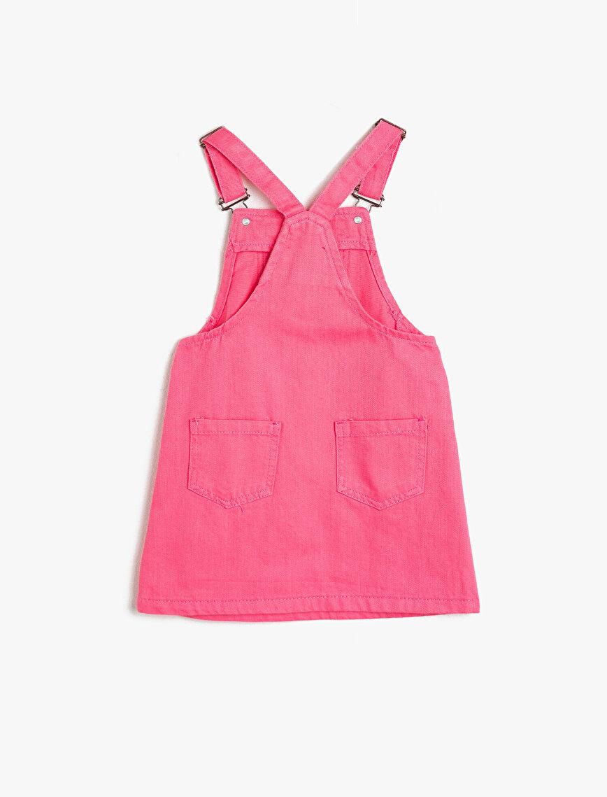 Esnek Kumaştan Cepli Askıları Ayarlanabilir Dizüstü Salopet Elbise