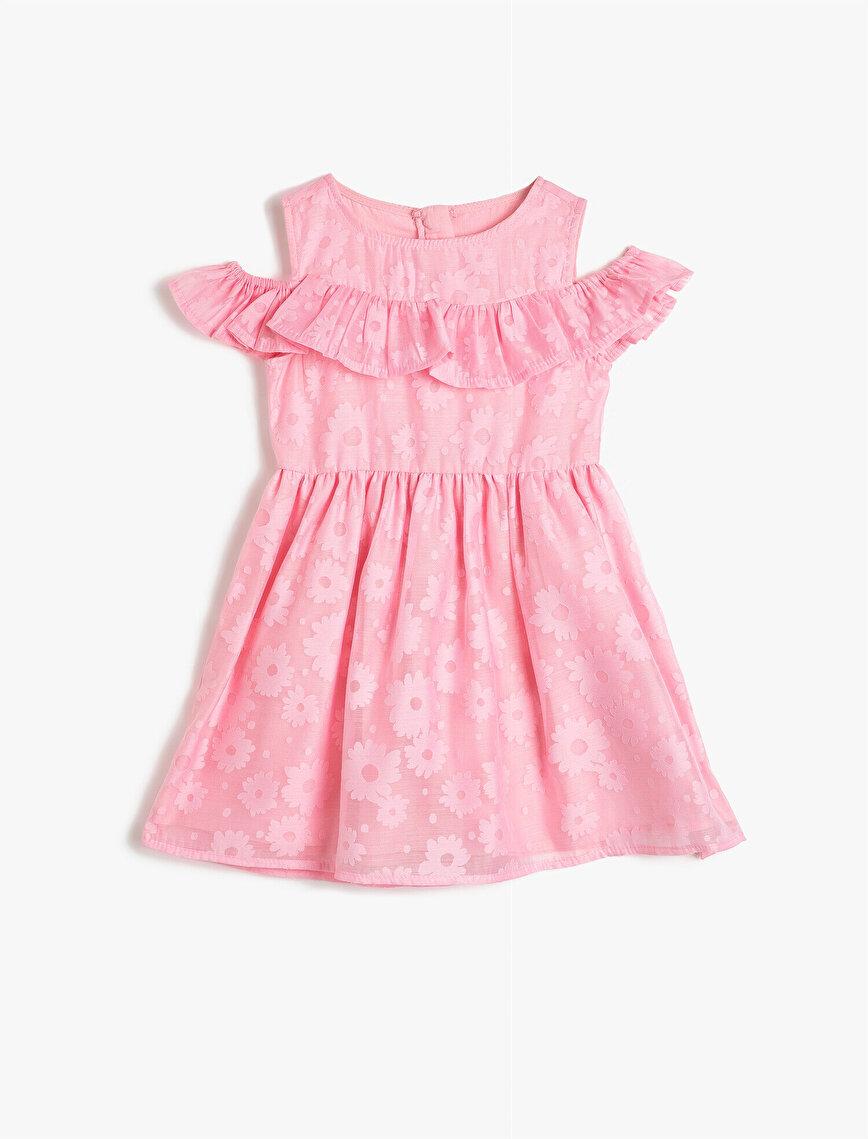 Fırfırlı Çiçekli Elbise