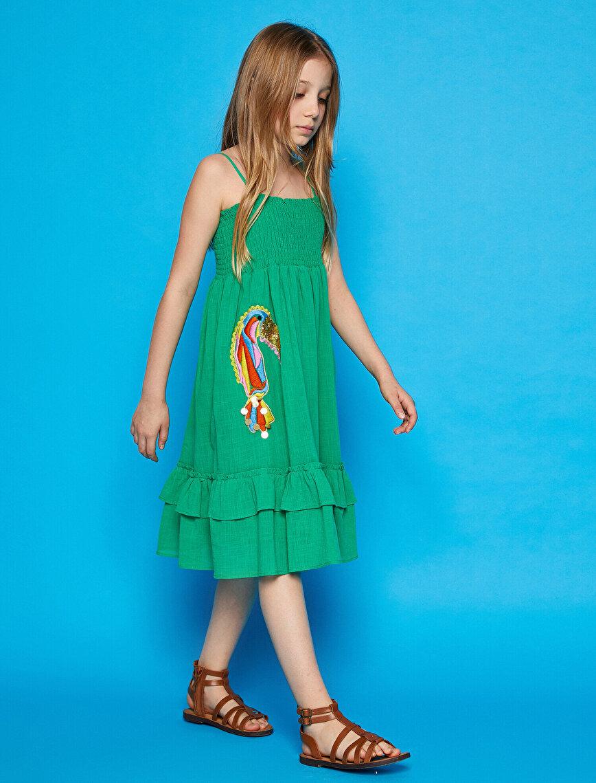 Pamuklu Askılı İşlemeli Elbise