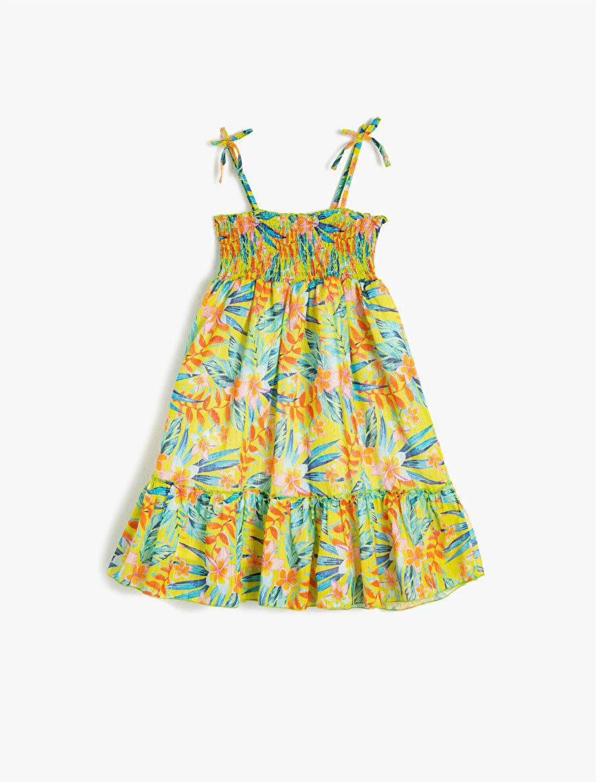 Askılı Pamuklu Çiçekli Sim Baskılı Elbise
