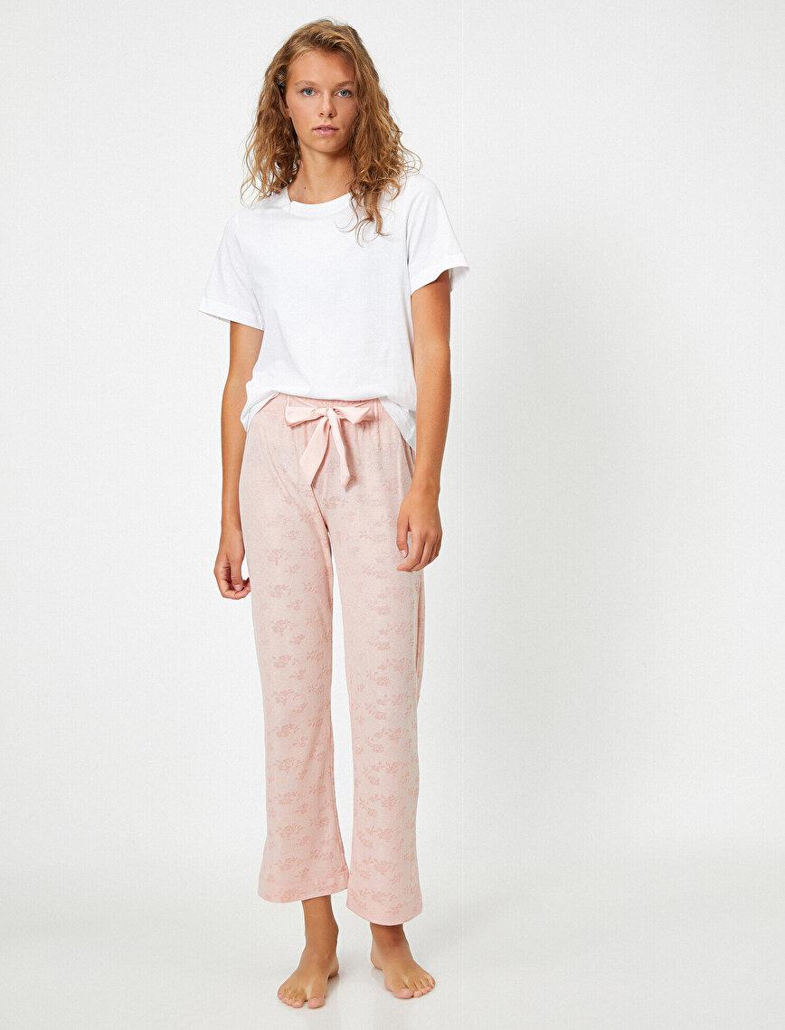 Kurdeleli Çiçek Desenli Pijama Altı