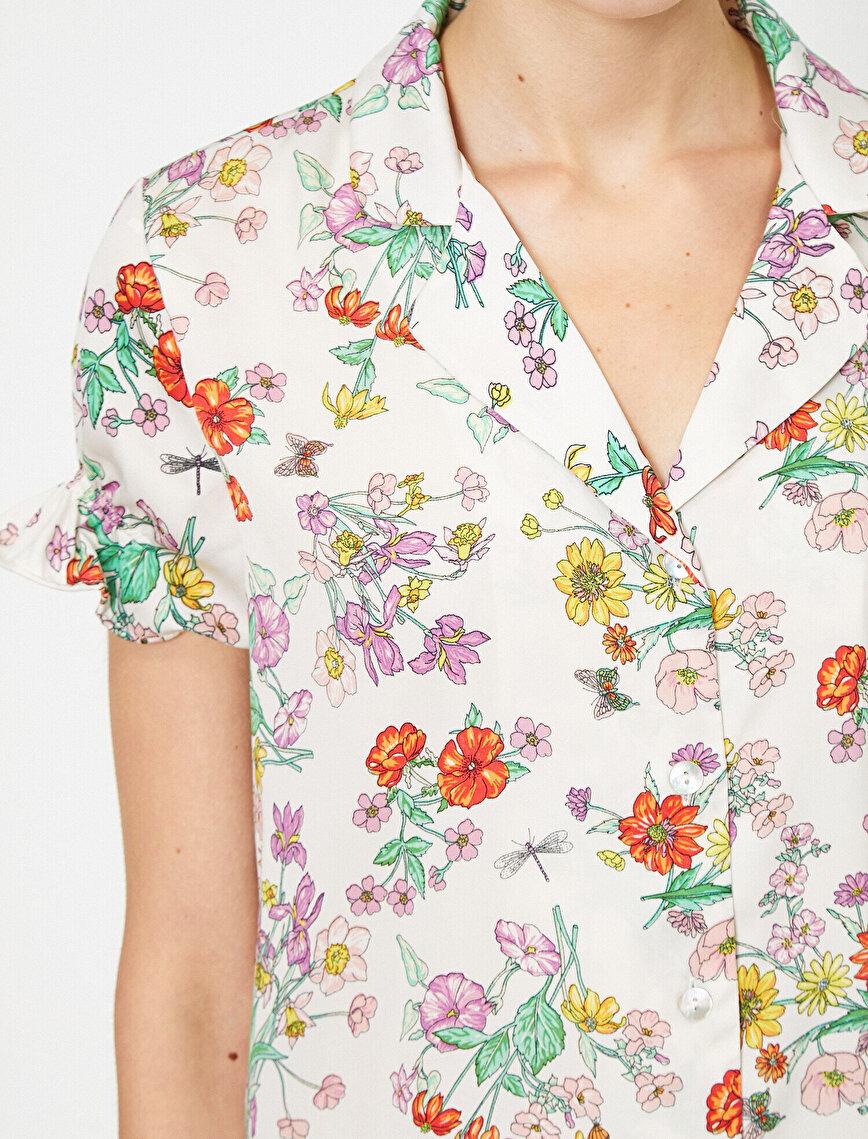 Çiçek Desenli Fırfır Detaylı Kısa Kollu Pijama Üstü