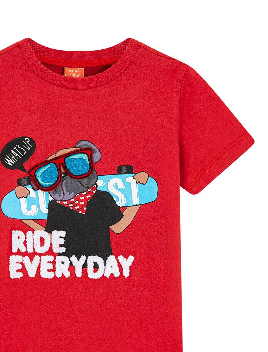 Koton Love Kids Baskılı Bisiklet Yaka Kısa Kollu İşlemeli Tişört