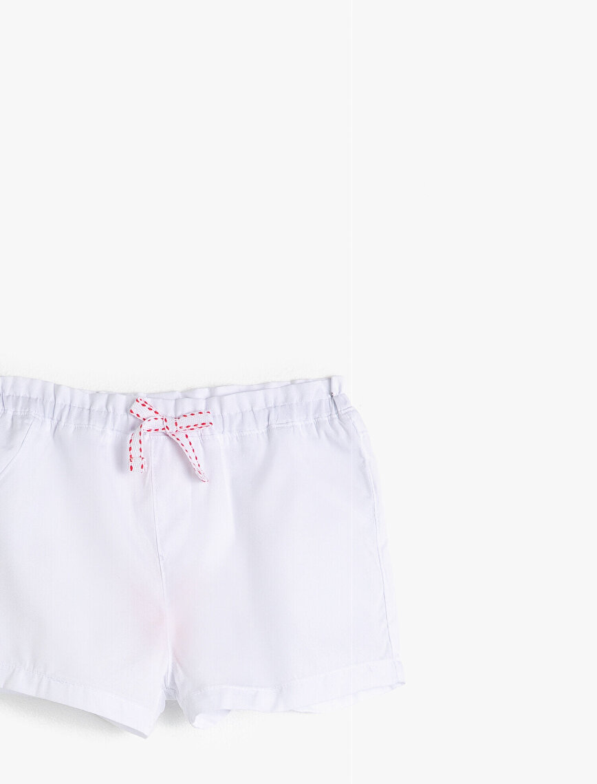 %100 Cotton Shorts With Elastic Waist