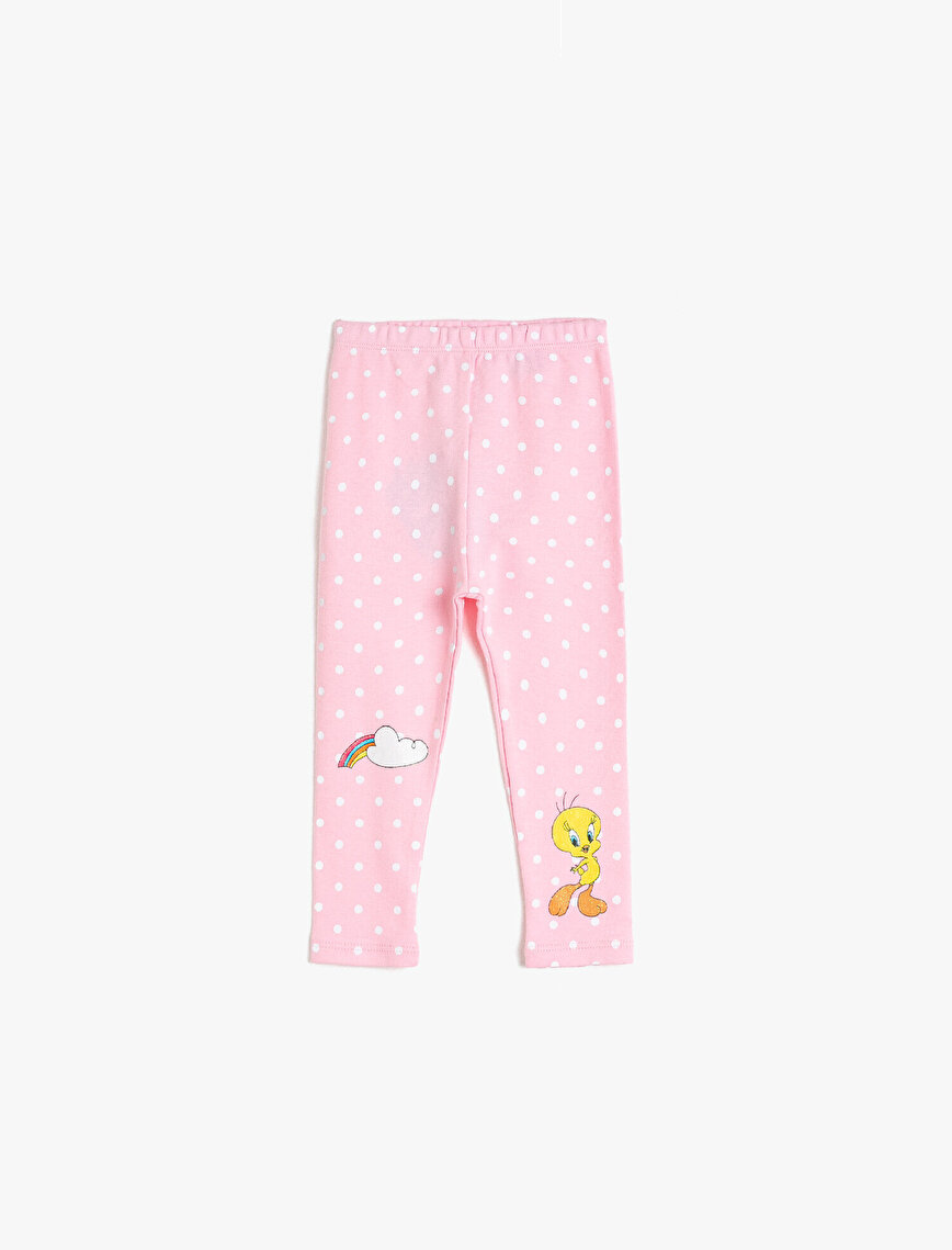 Tweety Licenced Dotted %100 Cotton Leggings