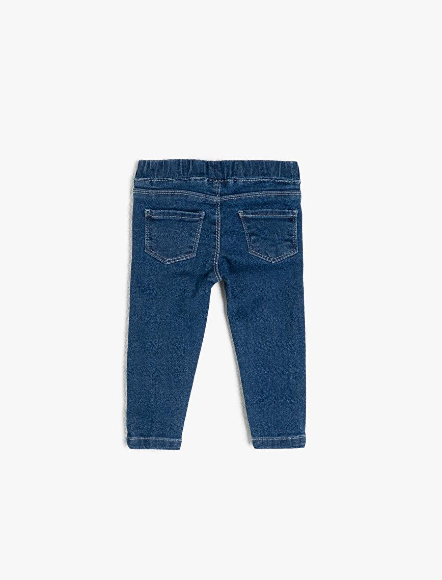 Kalp Detaylı Kot Pantolon