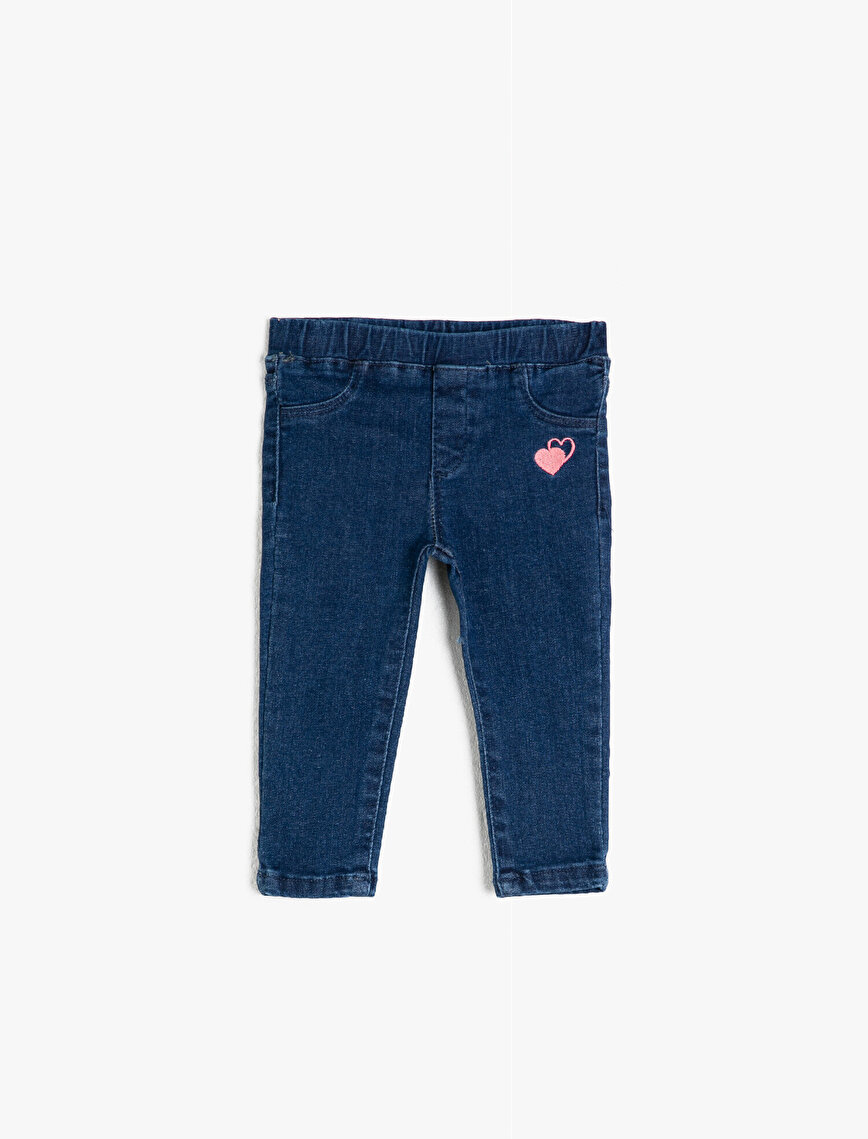 Heart Shape Detailed Jeans